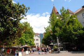 Kornplatz in Meran. Hier befindet sich das Frauenmuseum.